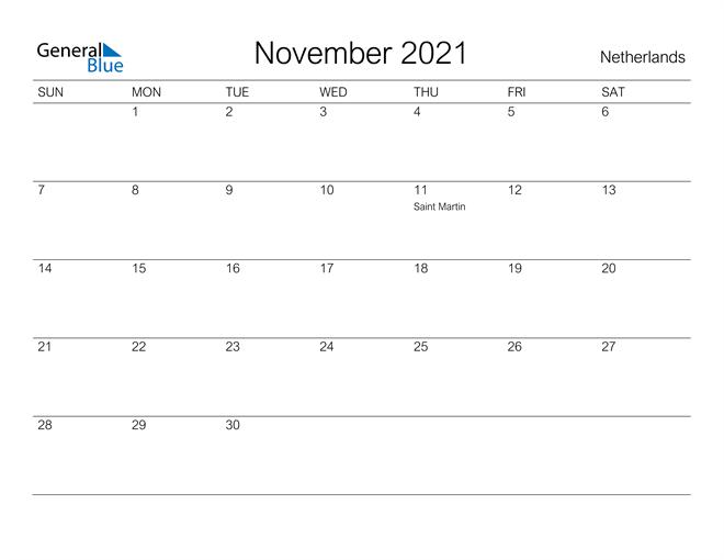 Printable November 2021 Calendar for Netherlands