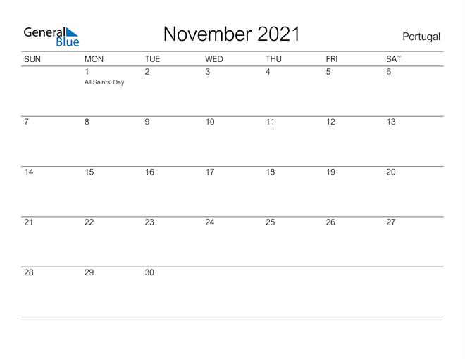 Printable November 2021 Calendar for Portugal