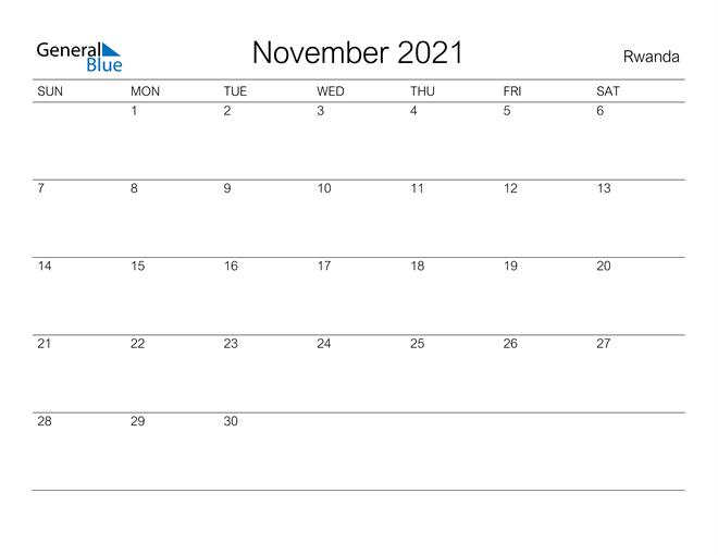 Printable November 2021 Calendar for Rwanda