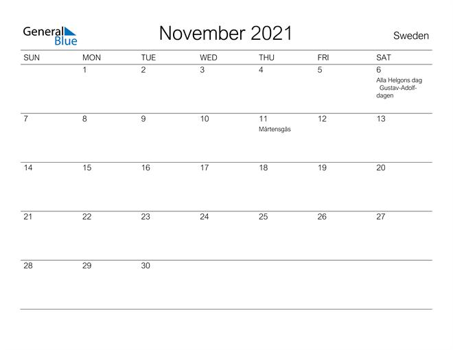 Printable November 2021 Calendar for Sweden