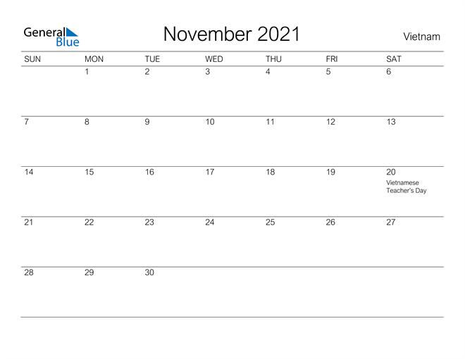 Printable November 2021 Calendar for Vietnam
