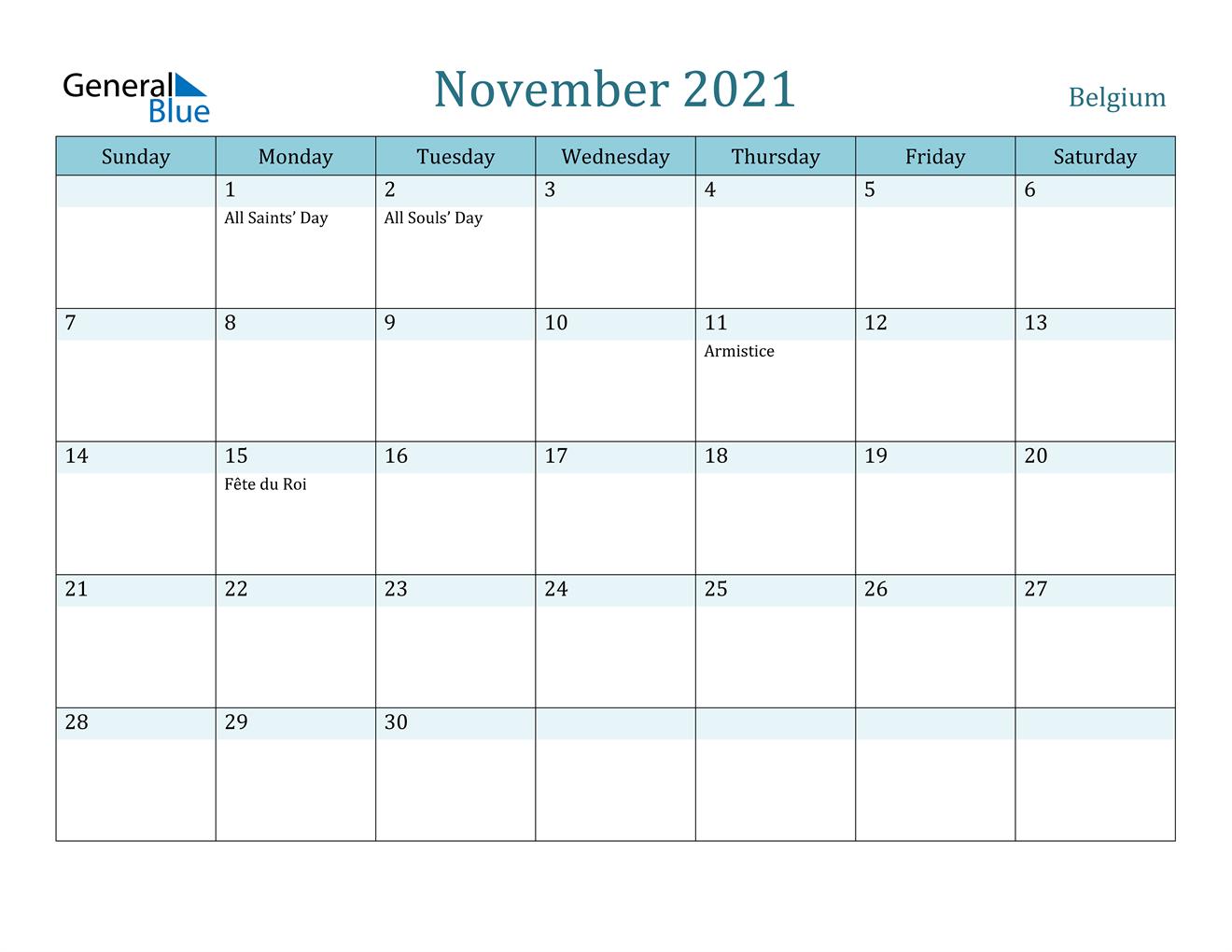 November 2021 Calendar - Belgium