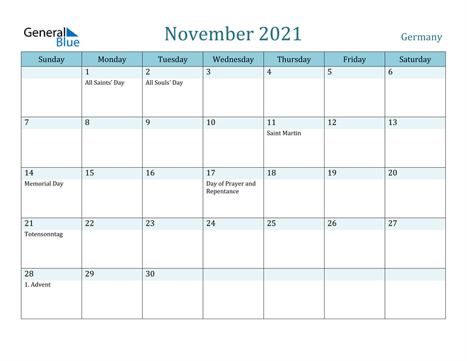 Image of November 2021 Colorful Turquoise Calendar in PDF, Word and Excel Calendar
