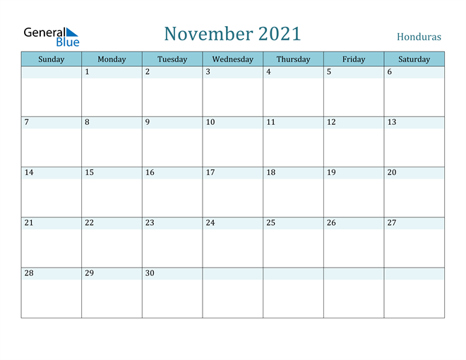 November 2021 Calendar with Holidays in PDF, Word, and Excel