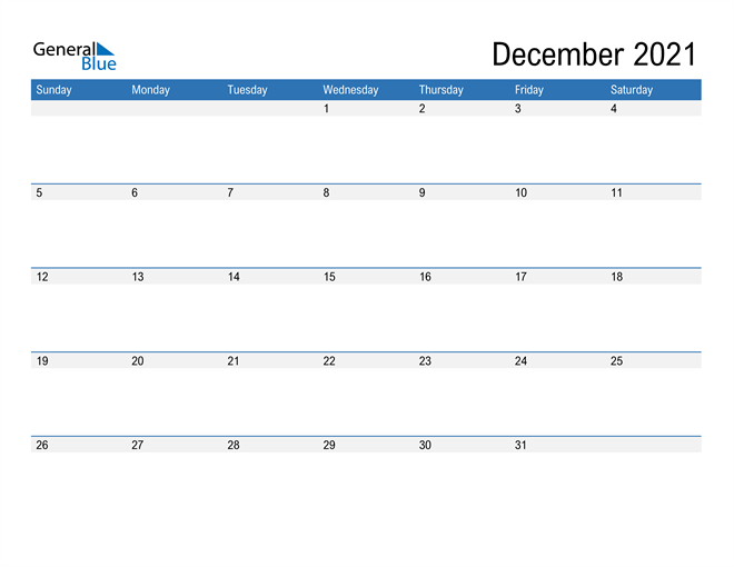 Fillable Calendar for December 2021
