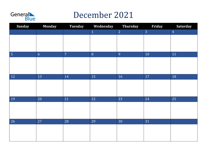Calendar for December 2021 in PDF, Word and Excel