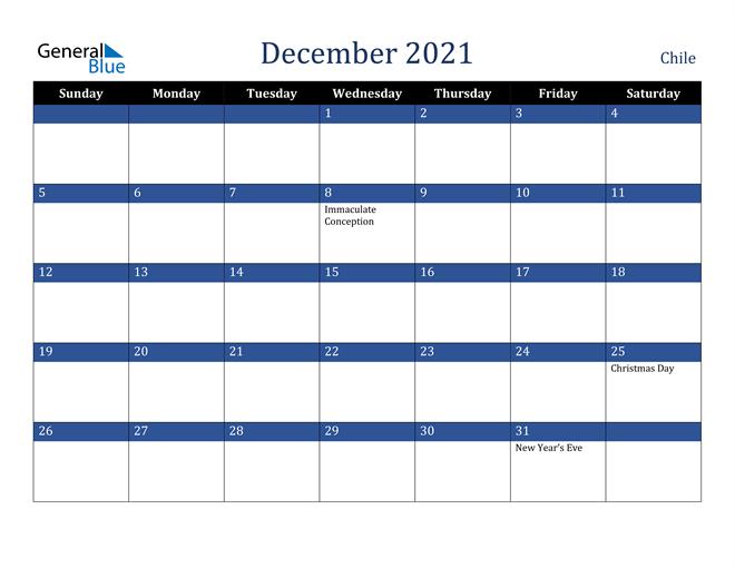 December 2021 Chile Calendar
