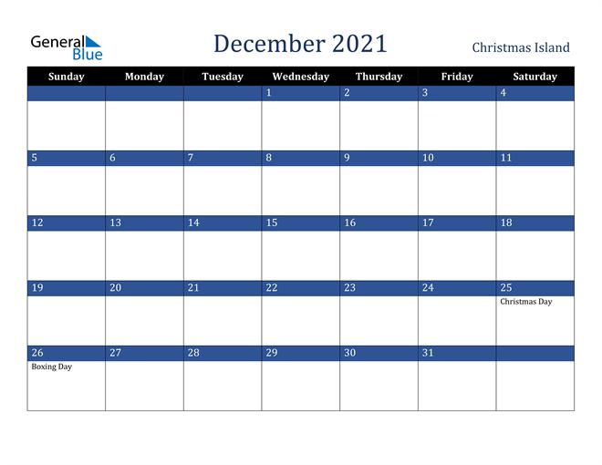 December 2021 Christmas Island Calendar