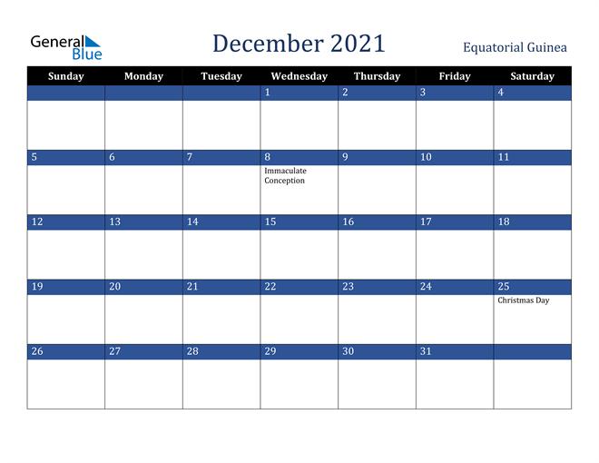 December 2021 Equatorial Guinea Calendar