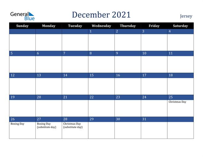 December 2021 Jersey Calendar