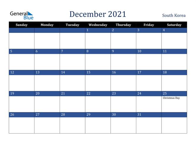 December 2021 South Korea Calendar