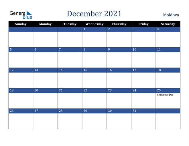 December 2021 Moldova Calendar