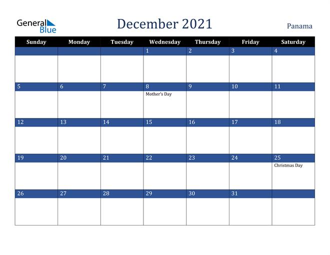 December 2021 Panama Calendar