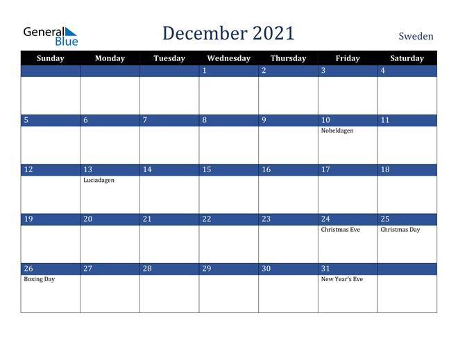 December 2021 Sweden Calendar