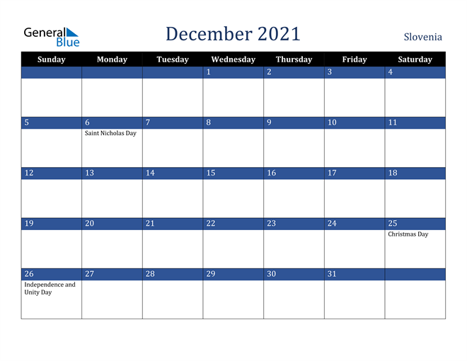 Image of December 2021 Stylish Dark Blue Calendar in PDF, Word and Excel Calendar