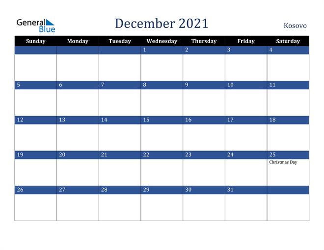 December 2021 Kosovo Calendar
