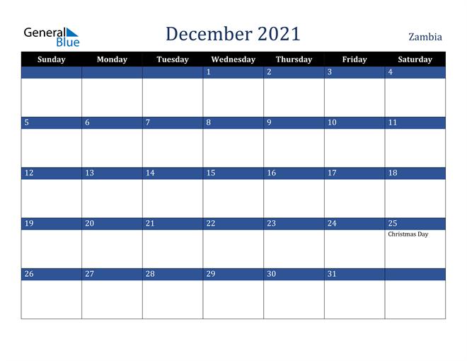 Image of December 2021 Stylish Dark Blue Calendar in PDF, Word and Excel Calendar