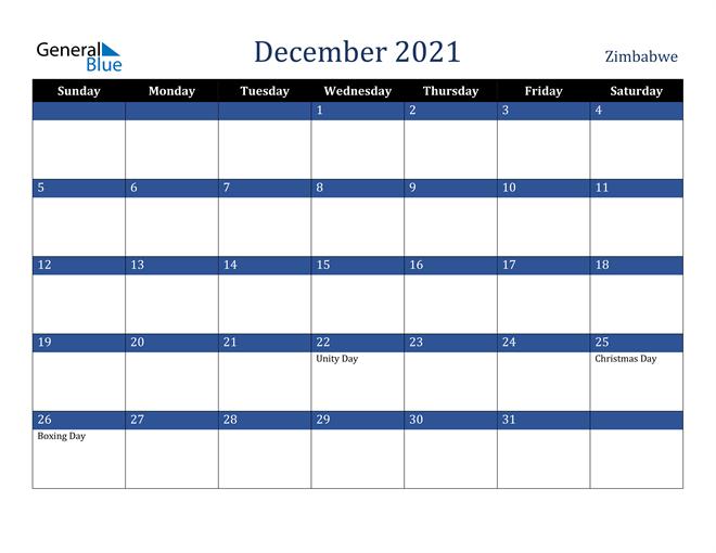 December 2021 Zimbabwe Calendar