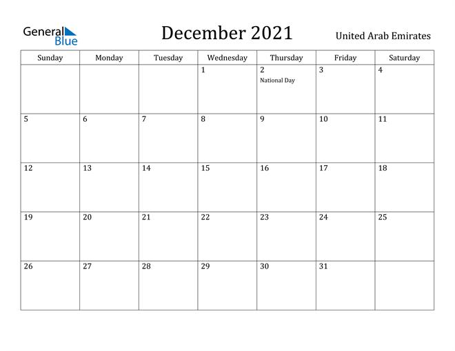 Image of December 2021 United Arab Emirates Calendar with Holidays Calendar