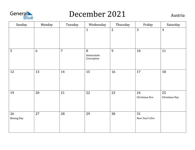 Image of December 2021 Austria Calendar with Holidays Calendar