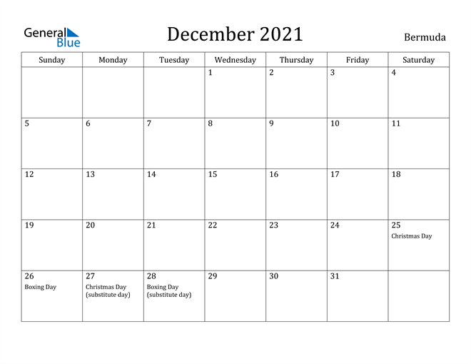 Image of December 2021 Bermuda Calendar with Holidays Calendar