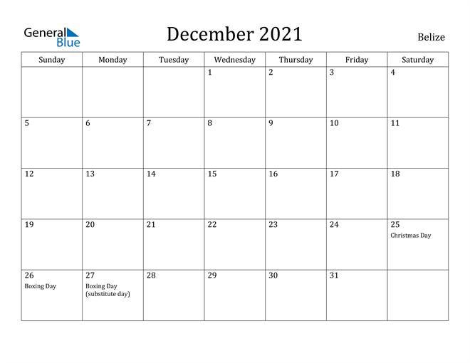 Image of December 2021 Belize Calendar with Holidays Calendar