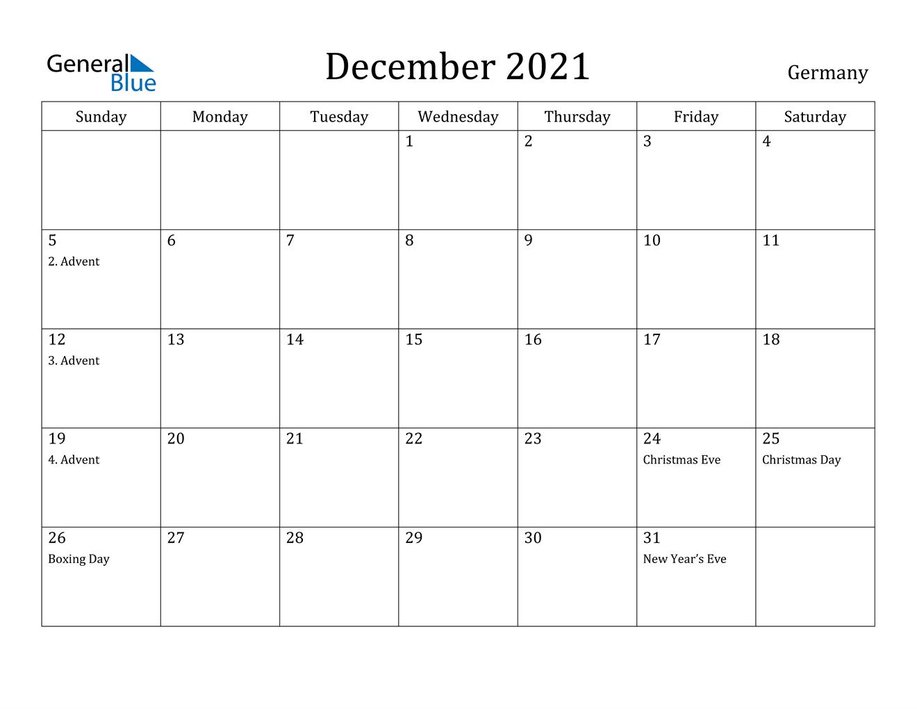December 2021 Calendar - Germany