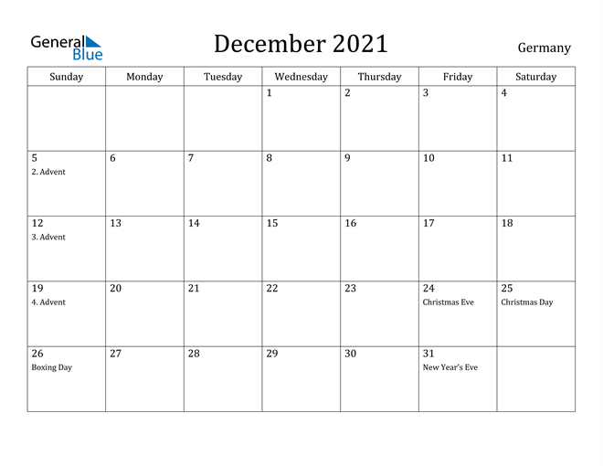 Image of December 2021 Germany Calendar with Holidays Calendar