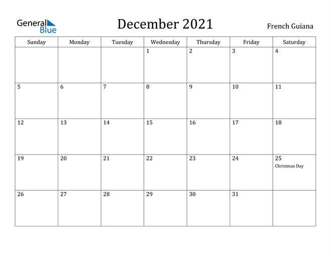 December 2021 Calendar French Guiana