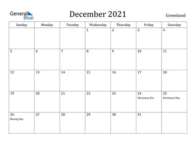 Image of December 2021 Greenland Calendar with Holidays Calendar