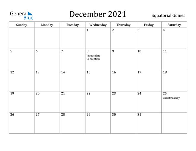 December 2021 Calendar Equatorial Guinea