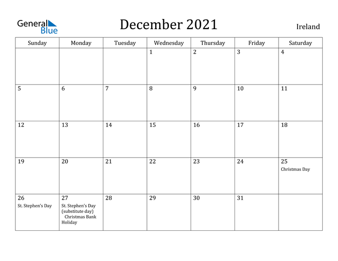 Image of December 2021 Ireland Calendar with Holidays Calendar