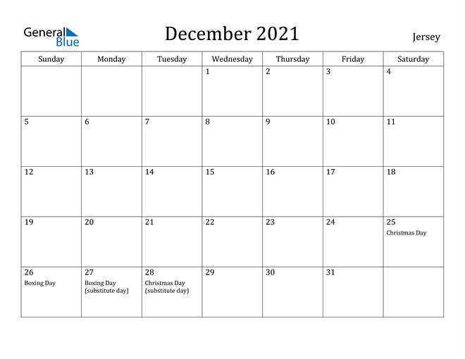 December 2021 Calendar Jersey