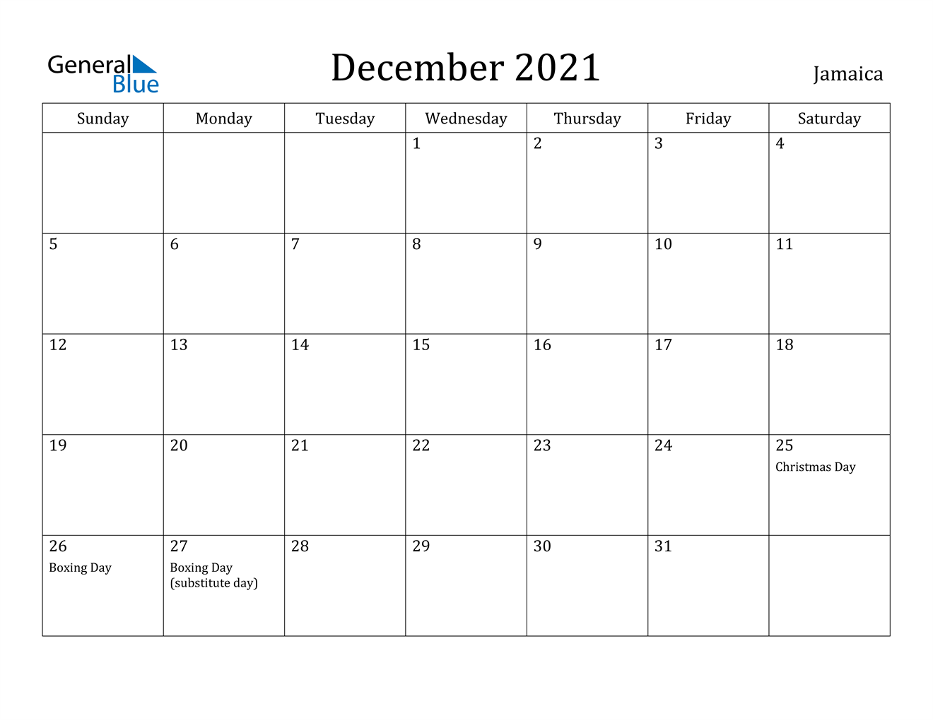 December 2021 Calendar - Jamaica