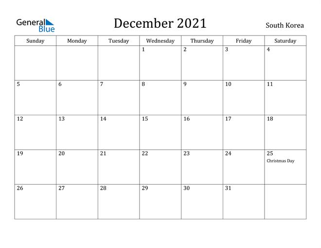 December 2021 Calendar South Korea