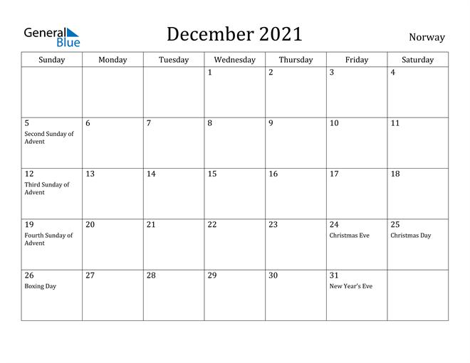 Image of December 2021 Norway Calendar with Holidays Calendar