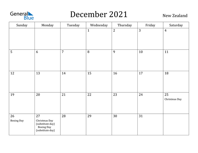 Image of December 2021 New Zealand Calendar with Holidays Calendar