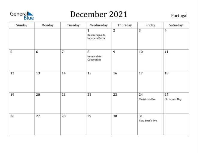 Calendar December 2021 Christmas Portugal December 2021 Calendar With Holidays