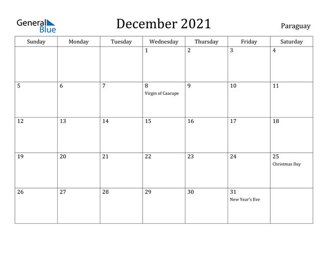 Image of December 2021 Paraguay Calendar with Holidays Calendar