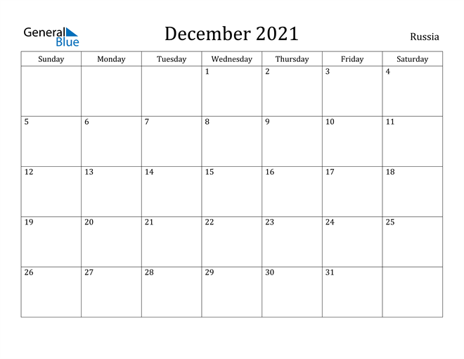 December 2021 Calendar Russia