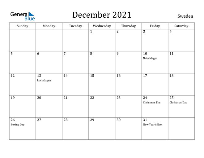 December 2021 Calendar Sweden