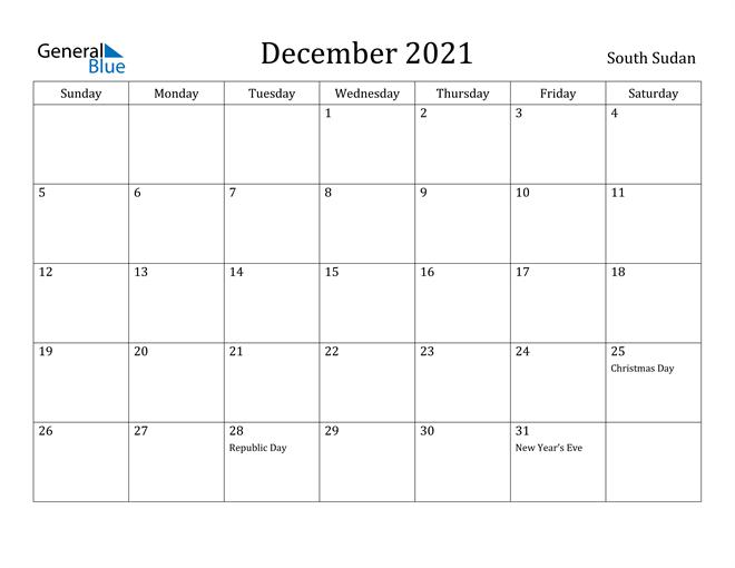 Image of December 2021 South Sudan Calendar with Holidays Calendar