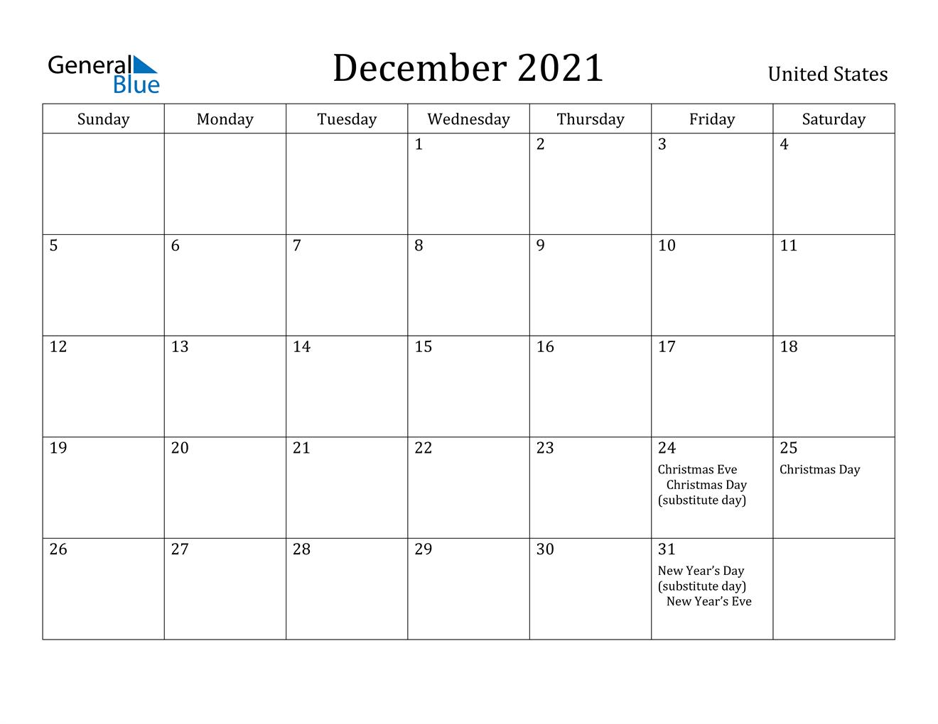 December 2021 Calendar - United States