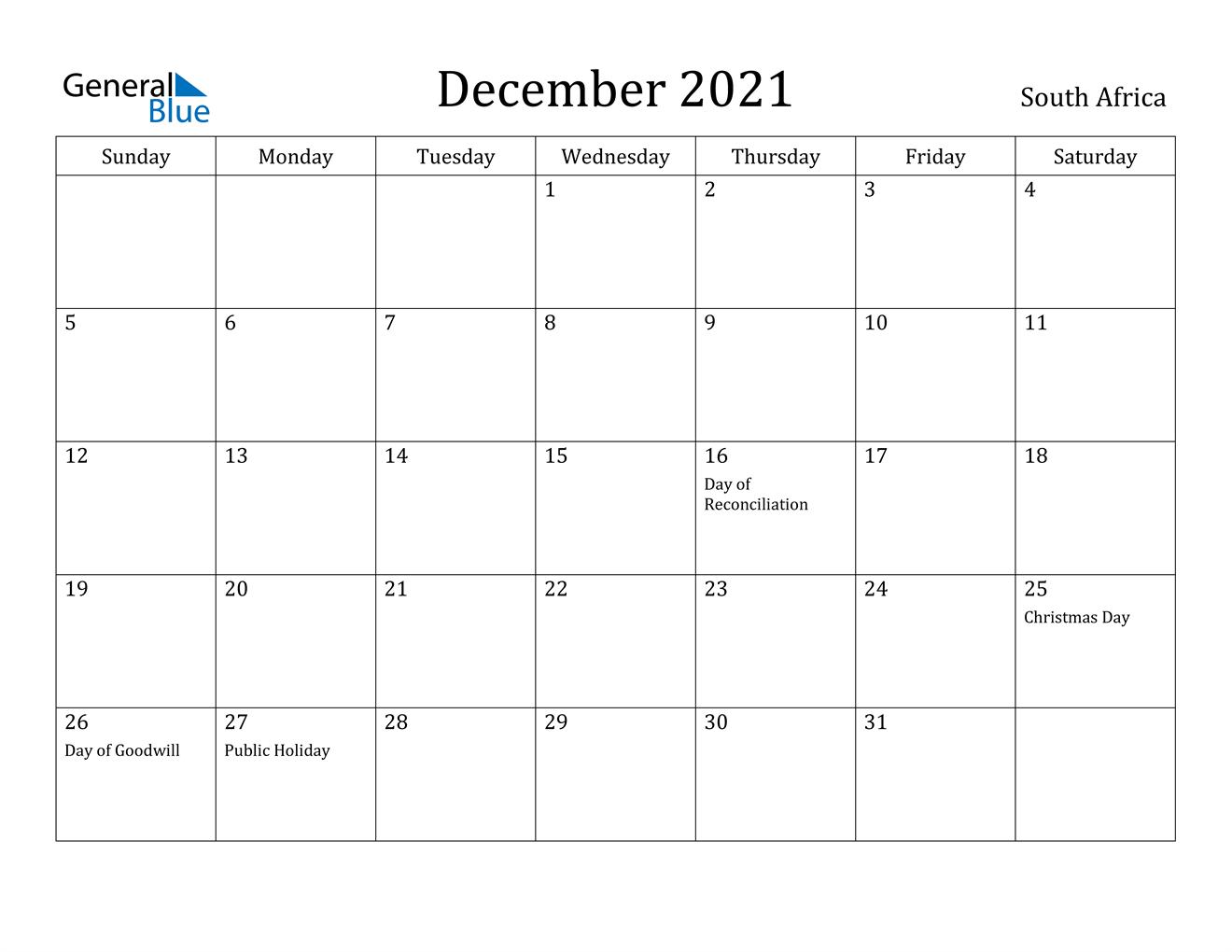 December 2021 Calendar - South Africa