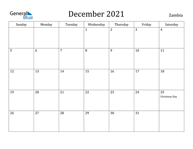 Image of December 2021 Zambia Calendar with Holidays Calendar