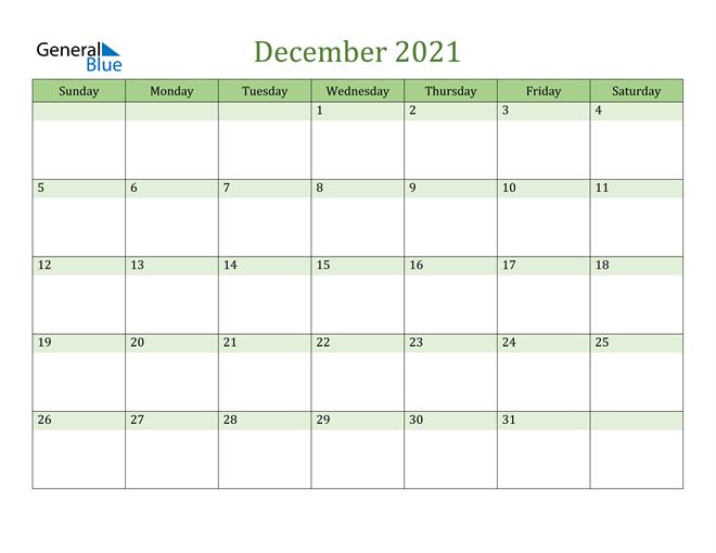 December Calendar 2021