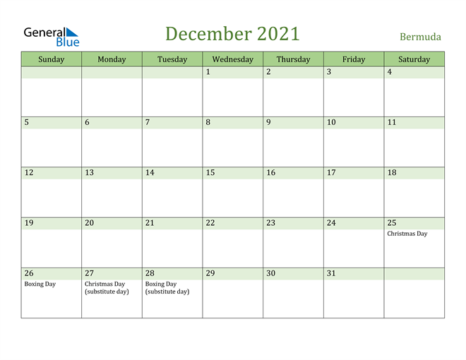 Image of December 2021 Cool and Relaxing Green Calendar Calendar