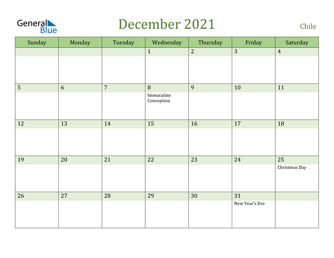 December 2021 Calendar with Chile Holidays
