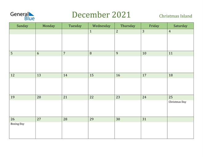 December 2021 Calendar with Christmas Island Holidays