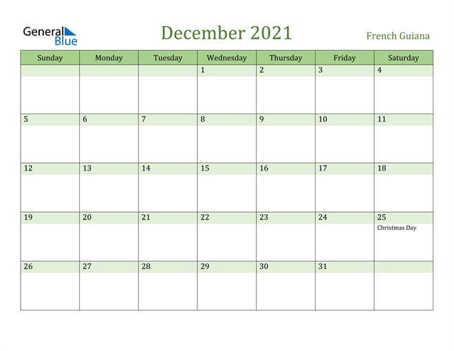 December 2021 Calendar with French Guiana Holidays
